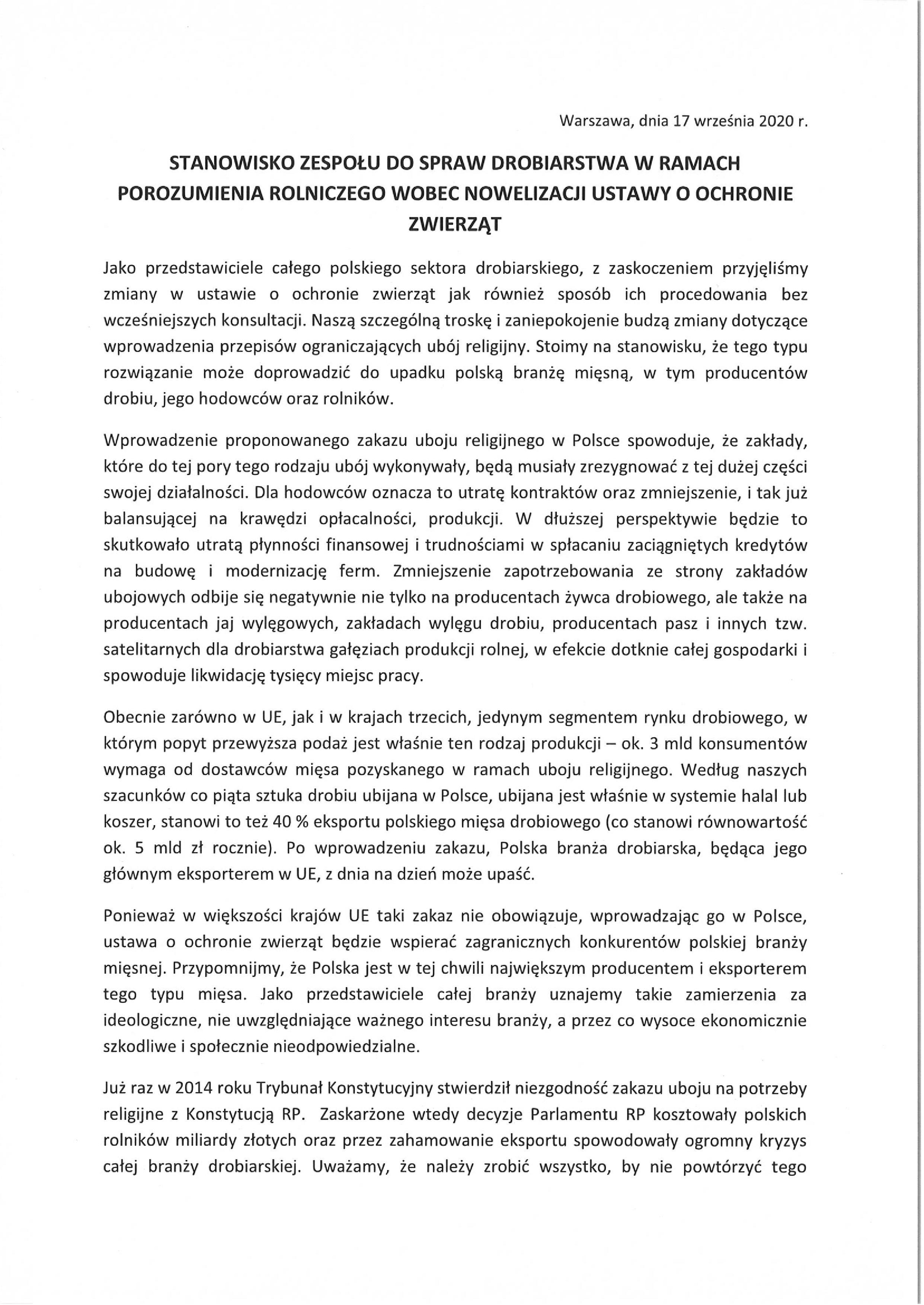"""""""Piątka dla zwierzą"""":Stanowisko Producentów Drobiu"""